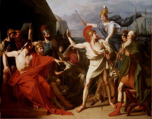 nữ thần Athene ngăn cản Achilles